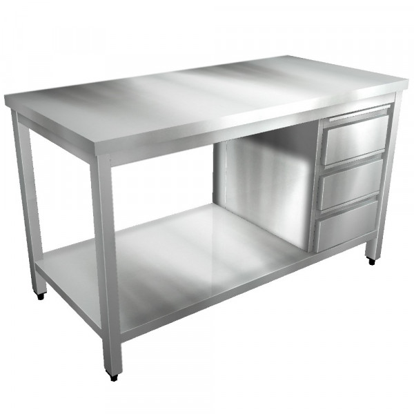 Edelstahl Arbeitstisch mit Boden und Schubladenblock